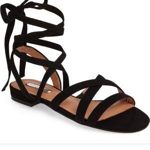 Halogen Frances Ankle Strap Black Suede Sandal
